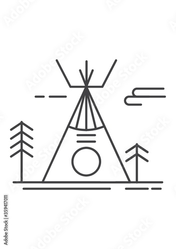 Cuadros en Lienzo A tipi is a cone-shaped tent, traditionally made of animal skins upon wooden poles