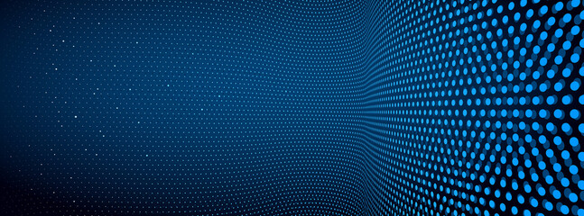 3D abstract dark blue background with dots pattern vector design, technology theme, dimensional dotted flow in perspective, big data, nanotechnology.
