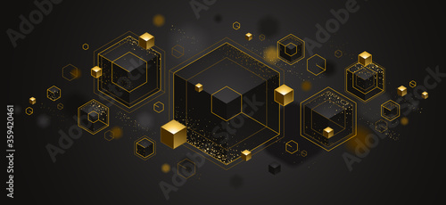 Photo Abstract vector design with cluster of 3D cubes with golden elements vector design, luxury color style, jewelry classy elegant geometric design, shiny gold realistic abstraction