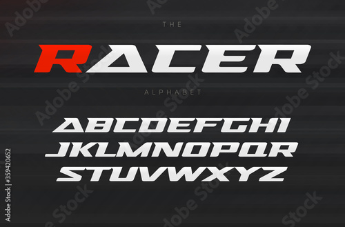 Obraz Racing font, aggressive and stylish lettering design. Dynamic letters, italic wide font with modern serifs, sports alphabet. Vector typography design. - fototapety do salonu
