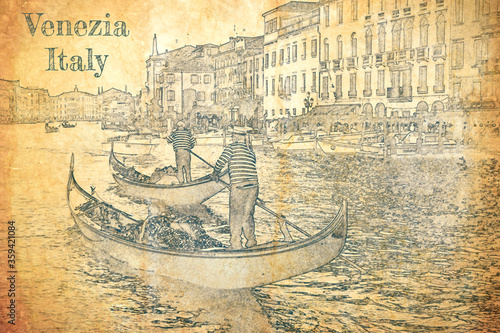 Fototapeta Sketch of gondolier on the Grand Canal, Venice obraz