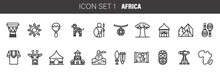 Africa Ethnic Culture Travel Icons Set Outline Isolated Vector Illustration