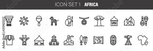 Stampa su Tela Africa ethnic culture travel icons set outline isolated vector illustration