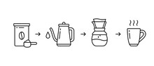Instruction For Brewing Drink In Pour Over Coffee Maker. Four Steps To Get Finished Fresh Coffee. Linear Icon For Packaging Design. Contour Isolated Vector Illustration. Ground Coffee Jar, Pot, Cup