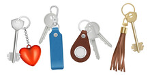 Keys On Keychains. Realistic B...