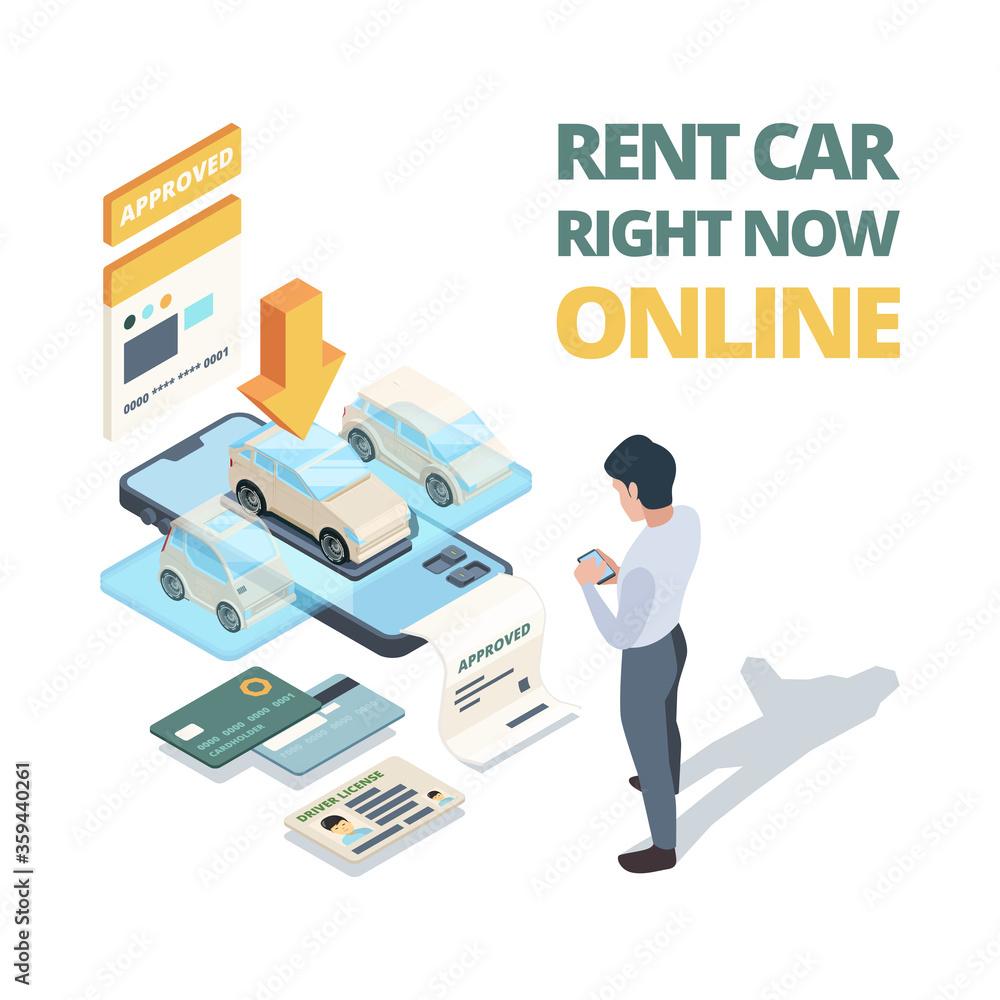 Fototapeta Rent car online. Digital buying automobile or car sharing service dealership online shopping vector isometric concept. Illustration online rent auto, automobile vehicle lease