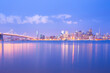 City skyline across the bay at dawn, San Francisco, California, United States