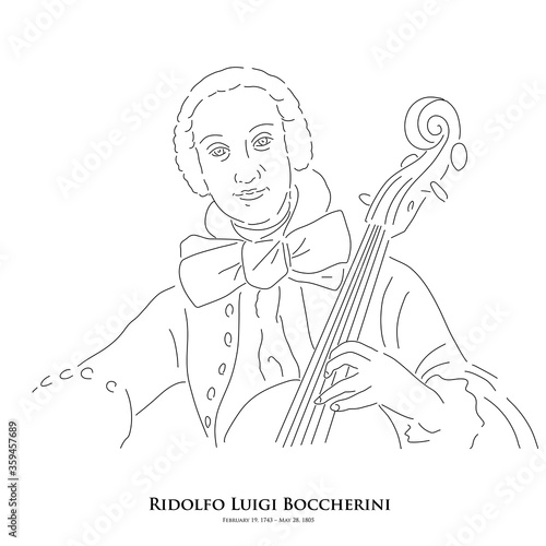 Ridolfo Luigi Boccherini (February 19, 1743 – May 28, 1805) A master of historical music Poster Mural XXL