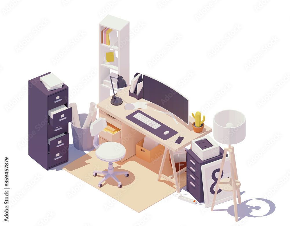 Fototapeta Vector isometric office workplace. Office table and chair, modern wide screen computer monitor, cabinets with drawers, documents and paper, printer, desk lamp