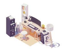Vector Isometric Office Workpl...