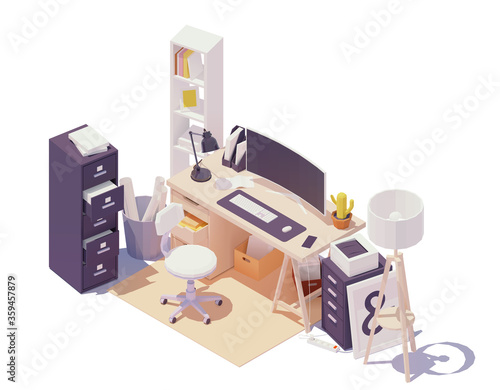 Vector isometric office workplace. Office table and chair, modern wide screen computer monitor, cabinets with drawers, documents and paper, printer, desk lamp