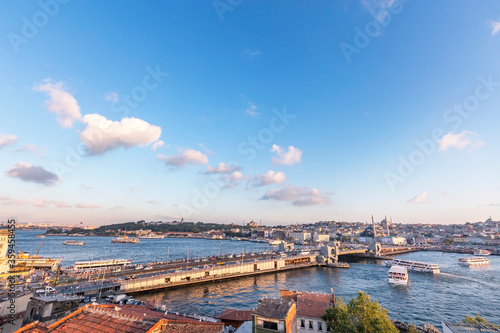 View of Galata Bridge of Istanbul Canvas Print