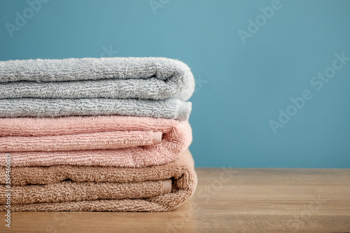 Pile of rainbow colored towels isolated Canvas-taulu
