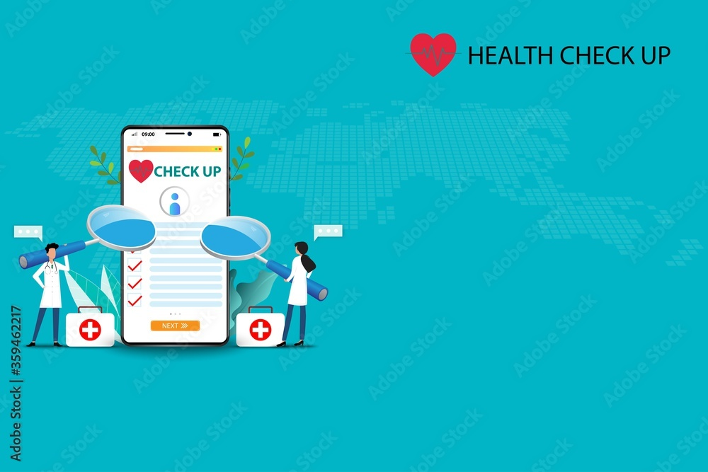 Fototapeta Concept of medical health check up, two doctors are holding a big magnifying glass and focus on a big screen of smartphone that contain health checklist to treat the patients in green color background
