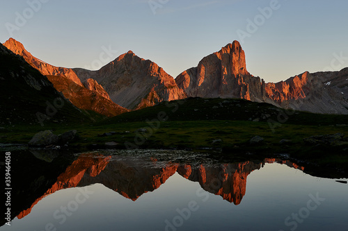 Ansabere- Mountain- Red- Light- Lake- Reflection- Sunrise- New Aquitaine- Pyrenees- France- FRA.