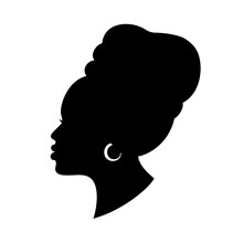 Silhoette Of African American Woman In A Head Wrap And With An Earring. Beautiful Black Girl Profile. Vector Fashion Design Isolated On White.