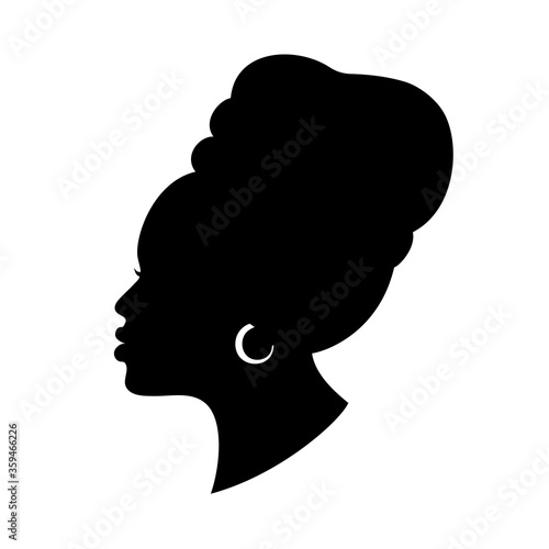 Silhoette of african american woman in a head wrap and with an earring Wallpaper Mural