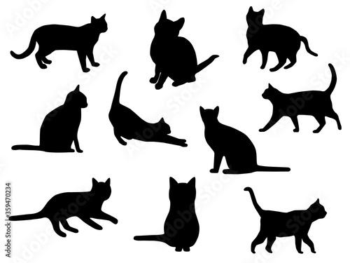 猫 シルエット Tableau sur Toile