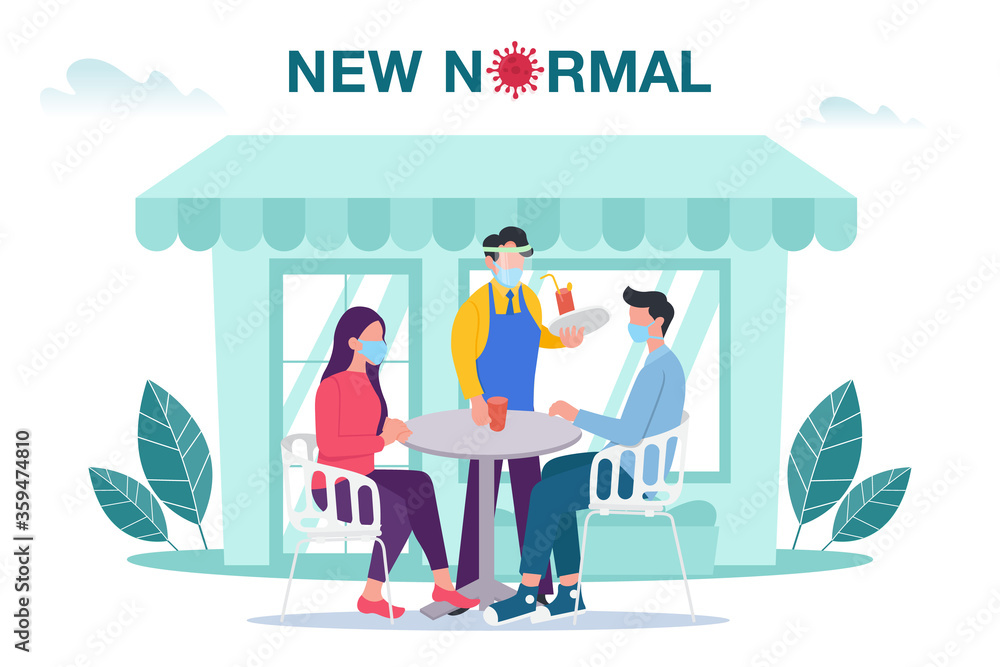 Fototapeta New normal concept illustration with male and female sitting at outdoor cafe or restaurant tables with face mask prevention from disease outbreak. New normal after Covid-19 pandemic concept