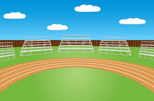 Sports Field With Running Track And Empty Bleachers