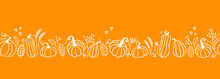 Lovely Hand Drawn Thanksgiving Garland, Horizontal Seamless, Great For Textiles, Banners, Wallpapers, Cards - Vector Design