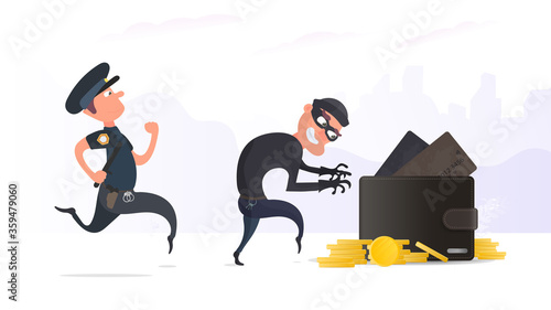 A criminal steals a wallet with credit cards and gold coins Canvas Print