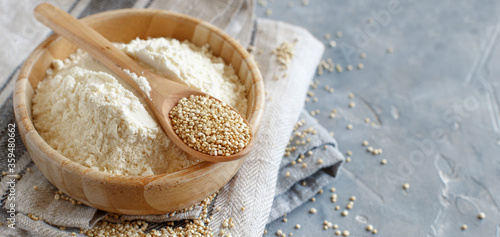 Vászonkép Raw dry white quinoa flour seeds close up