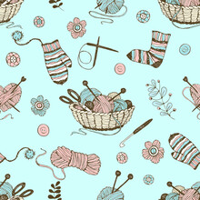 Seamless Pattern On The Theme Of Knitting With A Basket And Balls Of Yarn On A Turquoise Background. Vector