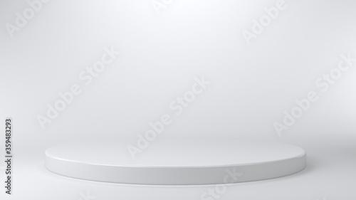 Photo Shiny white round pedestal podium