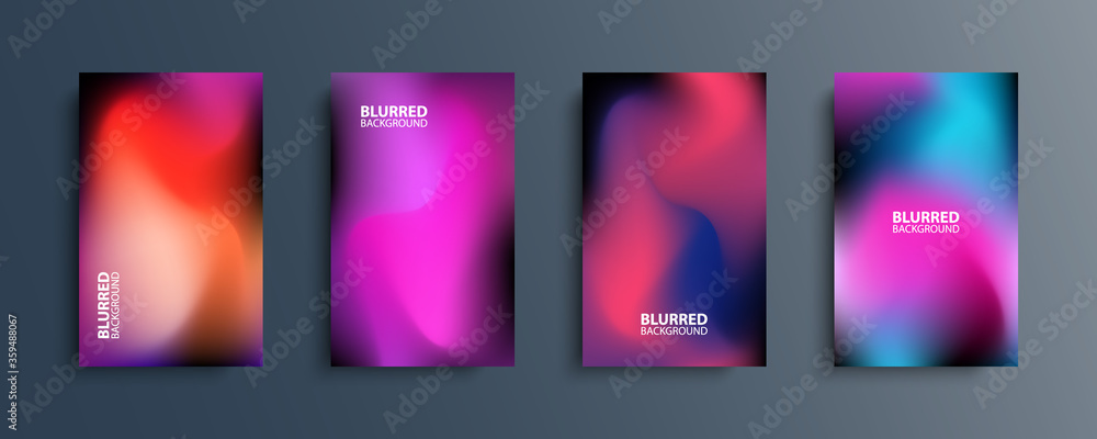 Fototapeta Blurred backgrounds set with modern abstract blurred dark color gradient patterns. Smooth templates collection for brochures, posters, banners, flyers and cards. Vector illustration.