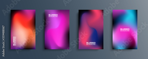 Obraz Blurred backgrounds set with modern abstract blurred dark color gradient patterns. Smooth templates collection for brochures, posters, banners, flyers and cards. Vector illustration. - fototapety do salonu