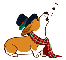 Corgi Dog Singing Chrismas Carols, Wearing Top Hat And Plaid Scarf With Bow Simple Cute Cartoon Illustration. Humorous Old-fashioned Victorian Christmas, Pet Lovers And Dog Themed Design Element.