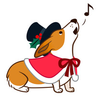 Corgi Dog Singing Chrismas Carols, In Top Hat And Red Cape With Bow Simple Cute Cartoon Illustration. Humorous Old-fashioned Victorian Christmas, Pet Lovers And Dog Themed Design Element.
