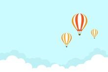 Orange Hot Air Balloon Flying ...