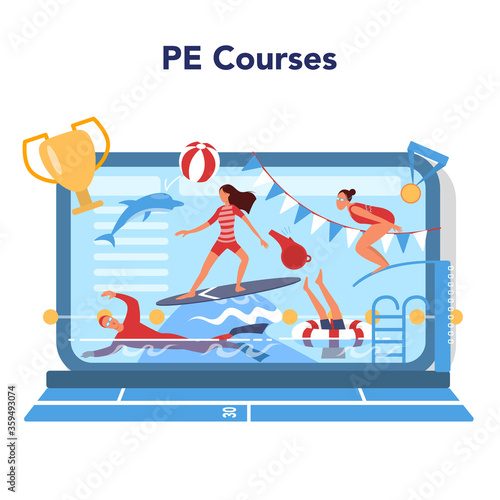 Physical education lesson school class online service or platform.