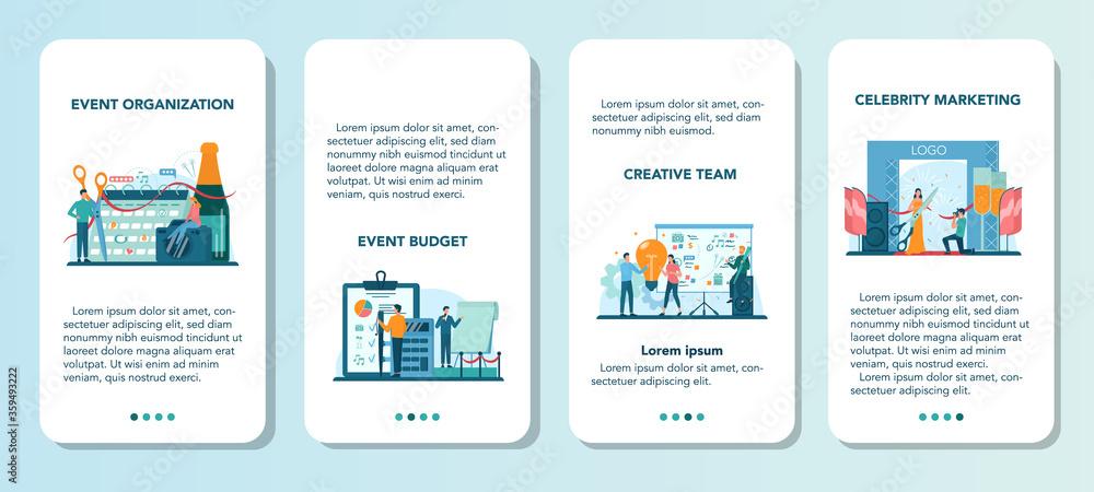 Fototapeta Event manager or service web banner or landing page set. Celebration