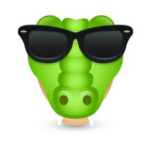 Crocodile With Sunglasses. A River Animal Emoji. A Illustration Face 3d Color.