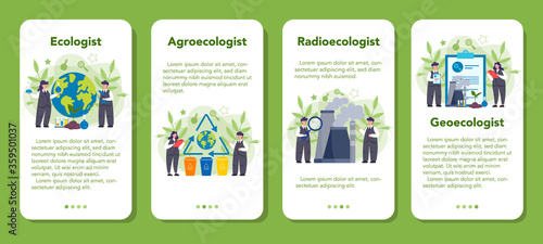 Obraz na plátně Ecologist taking care of Earth and nature mobile application banner