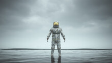 Mysterious Astronaut With Gold Visor Standing In Water With Black Sand 3d Illustration 3d Render