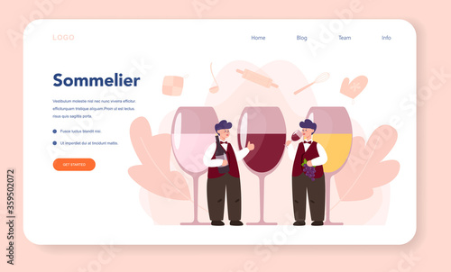 Foto Sommelier web banner or landing page. Man with a bottle