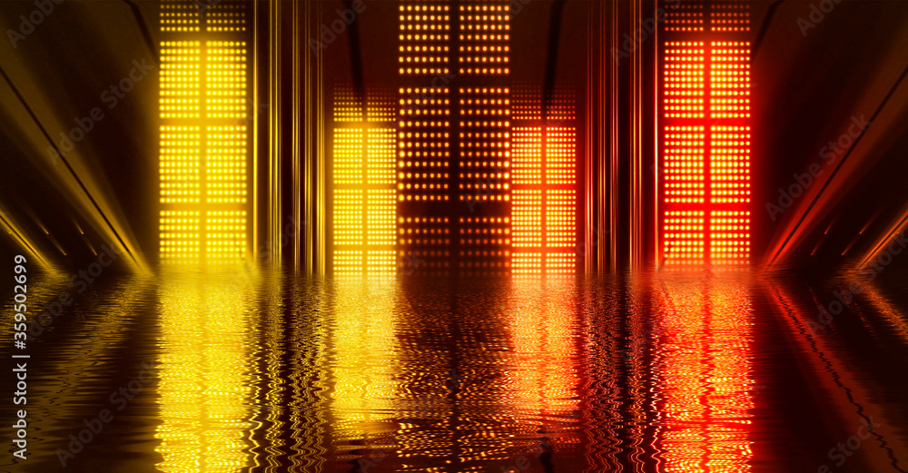 Fototapeta Light neon effect, energy waves on a dark abstract background. Laser colorful neon show. Reflection of light in the water. Smoke, fog. Neon lights of the night city. 3d illustration