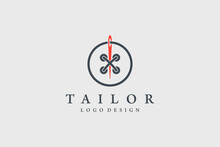 Tailor Logo. Red Needle With B...
