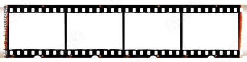 Obraz Camera film strip, isolated on white background, film strip with no pictures on it, Real high-res 35mm photo scan  - fototapety do salonu