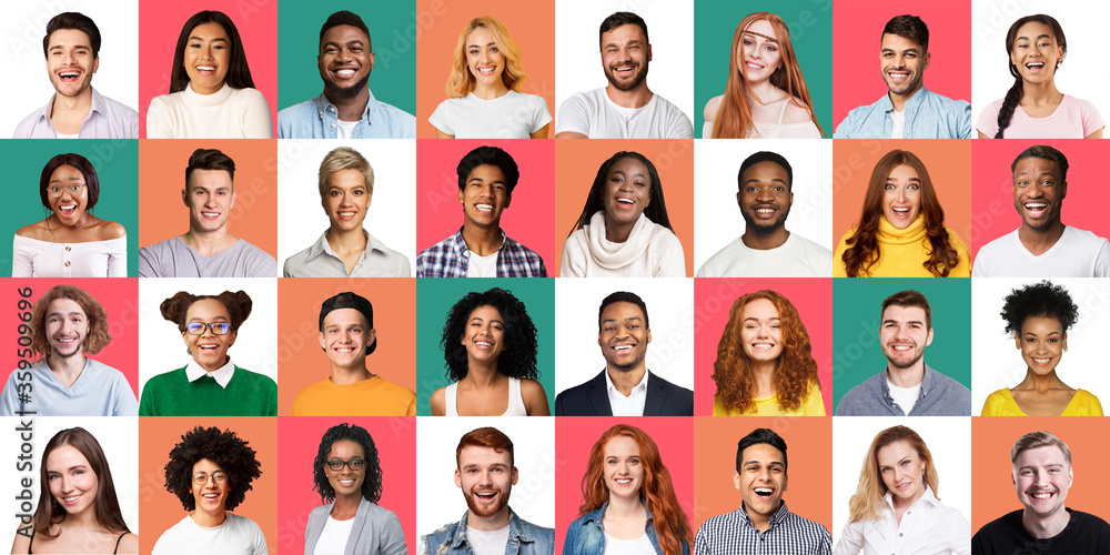 Fototapeta Mosaic Of Cheerful Young People Portraits On Different Colored Backgrounds