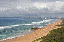 Durban, KwaZulu-Natal / South Africa - 10/30/2019: Aerial Photo Of Virginia Beach With Durban And Moses Mabhida Stadium In The Background