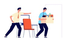 Employee Dismissal. Office Worker Unemployment, Man Fired Job. Angry Businessman And Unhappy Male. Guy Layoff From Work Vector Illustration. Job Dismissal, Unemployment Worker, Manager Office Fired