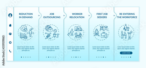 Obraz Unemployment reasons onboarding vector template. Reduction in demand, job outsourcing, workers relocation. Responsive mobile website with icons. Webpage walkthrough step screens. RGB color concept - fototapety do salonu