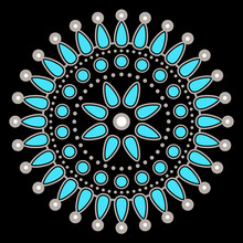 Abstract Round Decor Or Mandala. Ethnic Art Of Native American Zuni Pueblo Indians. Traditional Turquoise Jewelry Design. Isolated Vector Illustration.