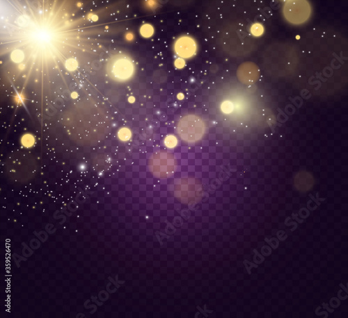 Fototapeta Brilliant gold dust vector shine. Glittering shiny ornaments for background. Vector illustration. obraz na płótnie