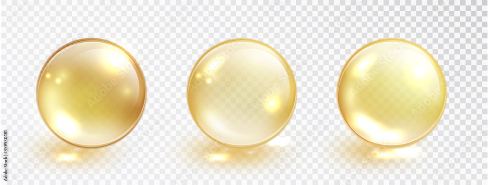Fototapeta Gold oil bubble set isolated on transparent background. Vector realistic yellow serum droplet of drug or collagen essence. Vitamin translucent pill.